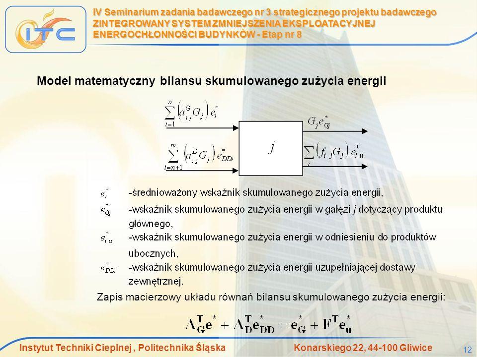 Instytut Techniki Cieplnej, Politechnika Śląska Konarskiego 22, 44-100 Gliwice 12 IV Seminarium zadania badawczego nr 3 strategicznego projektu badawc