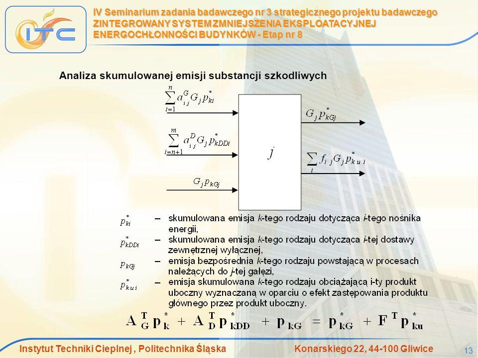 Instytut Techniki Cieplnej, Politechnika Śląska Konarskiego 22, 44-100 Gliwice 13 IV Seminarium zadania badawczego nr 3 strategicznego projektu badawc