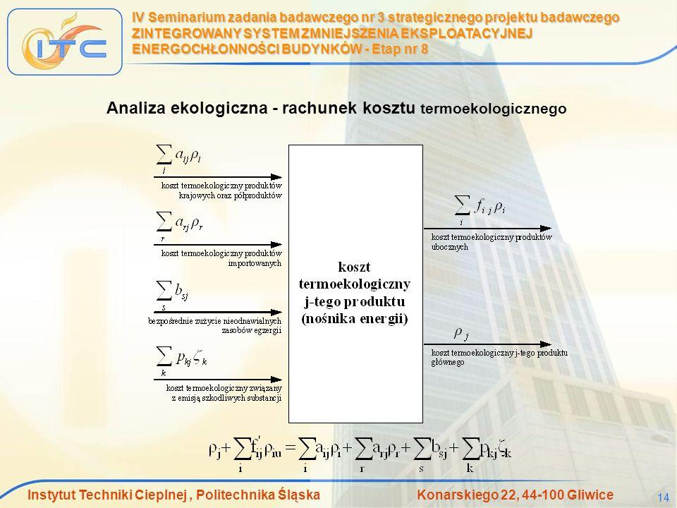 Instytut Techniki Cieplnej, Politechnika Śląska Konarskiego 22, 44-100 Gliwice 14 IV Seminarium zadania badawczego nr 3 strategicznego projektu badawc