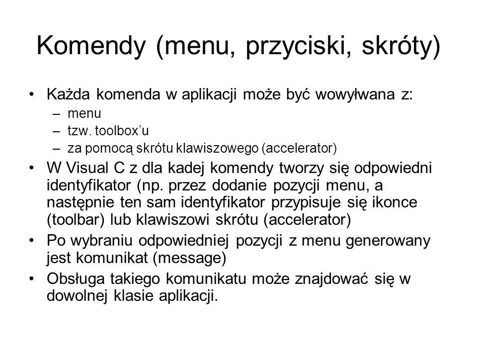 Komendy (menu, przyciski, skróty) Każda komenda w aplikacji może być wowyłwana z: –menu –tzw. toolboxu –za pomocą skrótu klawiszowego (accelerator) W