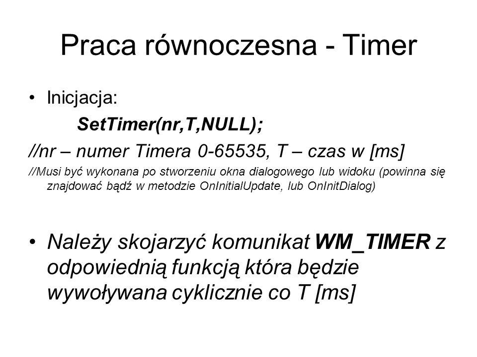 Praca równoczesna - Timer Inicjacja: SetTimer(nr,T,NULL); //nr – numer Timera 0-65535, T – czas w [ms] //Musi być wykonana po stworzeniu okna dialogow