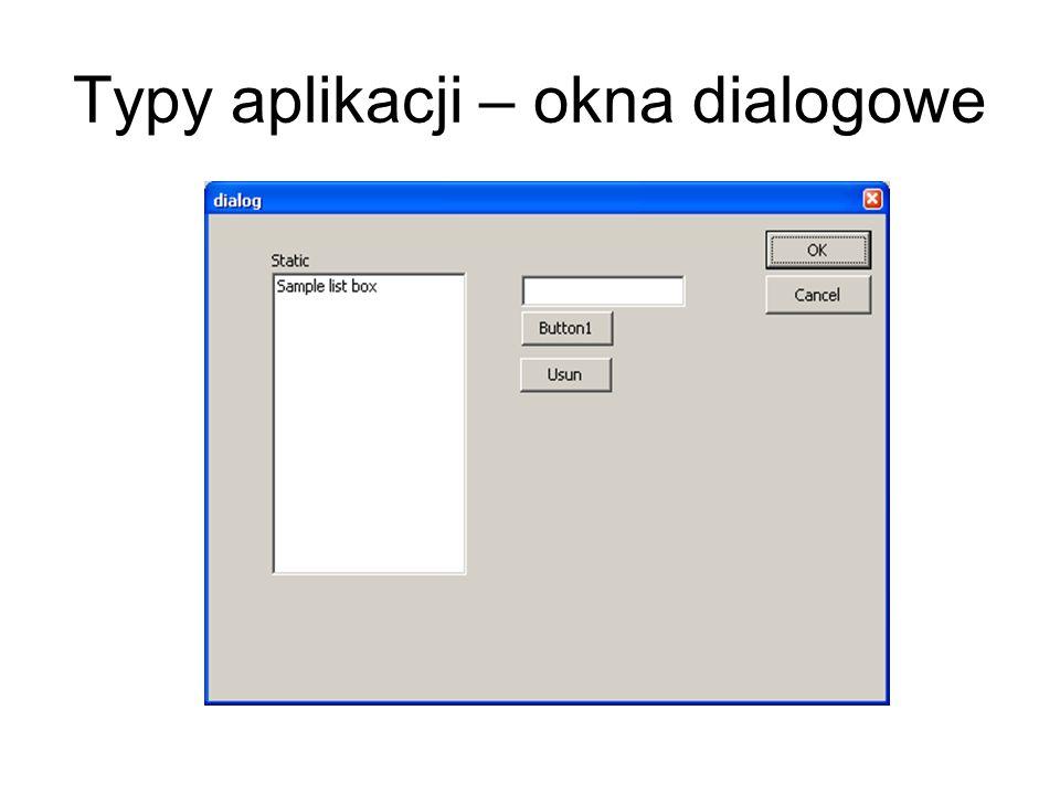 Konteksty pamięciowe Są wykorzystywane w celu przygotowania rysunku w pamięci, a następnie można go wyświetlić w pewnym oknie w zadanej lokalizacji jeśli zdefiniowane jest pole klasy: CBitmap Buffor; to można wykonać następujące operacje: CClientDC Kontekst(this); //tworzy kontekst okna CDC MemDC; //obiekt kontekstu pamięciowego Buffor.CreateCompatibileBitmap(&Kontekst,szerokosc,wysokosc); //tworzy bitmape o rozdzielczosci i ustawieniach takich jak kontekst okna MemDC.CreateCompatibileDC(&Kontekst); //Tworzy kontekst pamięciowy kompatybilny kontekstem okna MemDC.SelectObject(&Buffor); //powiązanie bufora z kontekstem pamięciowym MemDC.LineTo(10,10); //rysowanie w kontekście pamięciowym; Kontekst.StretchBlt(poz_x,poz_y,szer,wys,&MemDC,poz_x_źr, poz_y_źr,szer_x_źr, szer_y_źr,SRCCOPY); //wyświetla kontekst pamięciowy na ekranie