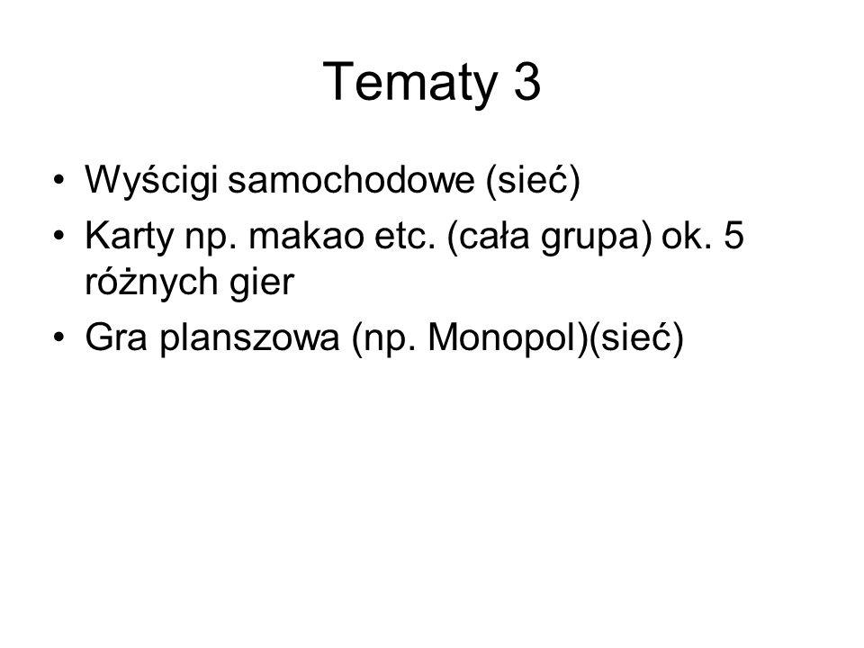 Tematy 3 Wyścigi samochodowe (sieć) Karty np. makao etc. (cała grupa) ok. 5 różnych gier Gra planszowa (np. Monopol)(sieć)