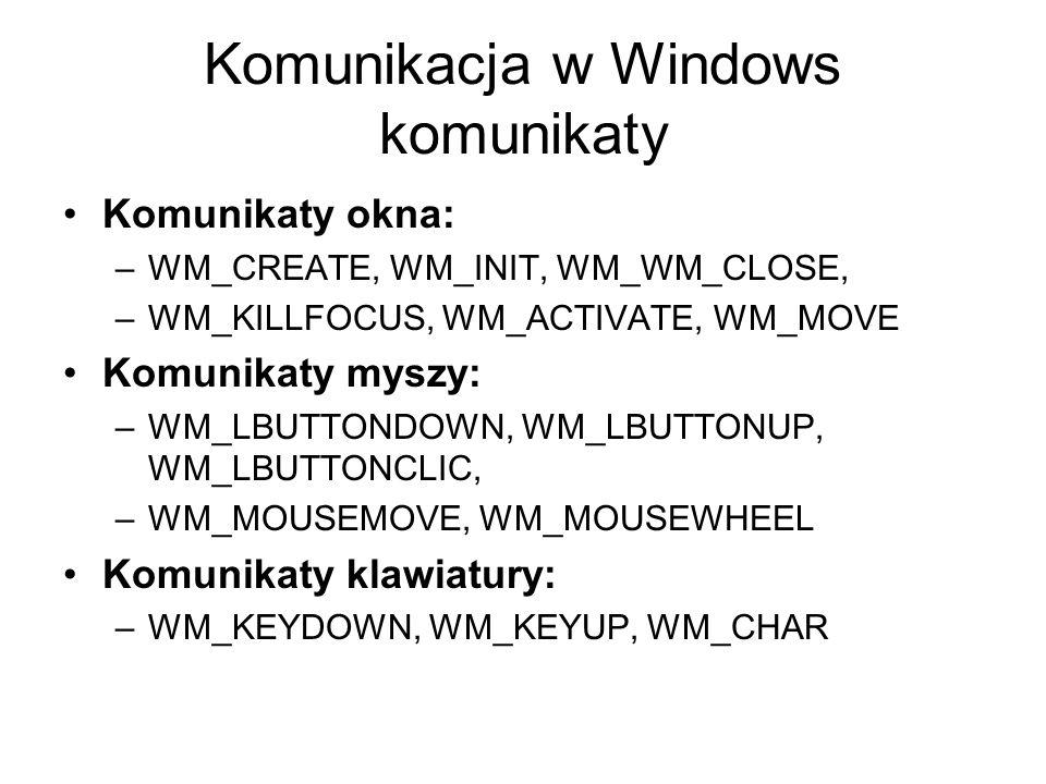Komunikacja w Windows komunikaty Komunikaty okna: –WM_CREATE, WM_INIT, WM_WM_CLOSE, –WM_KILLFOCUS, WM_ACTIVATE, WM_MOVE Komunikaty myszy: –WM_LBUTTOND