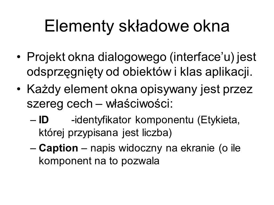 Elementy składowe okna Projekt okna dialogowego (interfaceu) jest odsprzęgnięty od obiektów i klas aplikacji. Każdy element okna opisywany jest przez