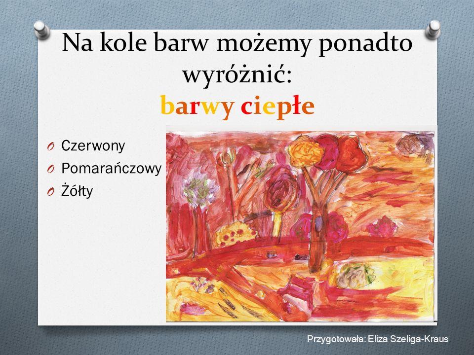 Na kole barw możemy ponadto wyróżnić: barwy ciepłe O Czerwony O Pomarańczowy O Żółty Przygotowała: Eliza Szeliga-Kraus