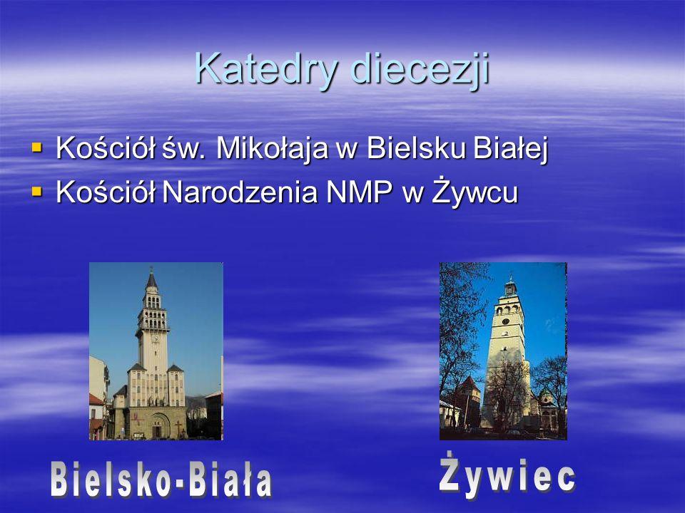 Katedry diecezji Kościół św. Mikołaja w Bielsku Białej Kościół św. Mikołaja w Bielsku Białej Kościół Narodzenia NMP w Żywcu Kościół Narodzenia NMP w Ż