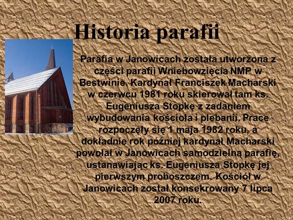 Historia parafii Parafia w Janowicach została utworzona z części parafii Wniebowzięcia NMP w Bestwinie. Kardynał Franciszek Macharski w czerwcu 1981 r