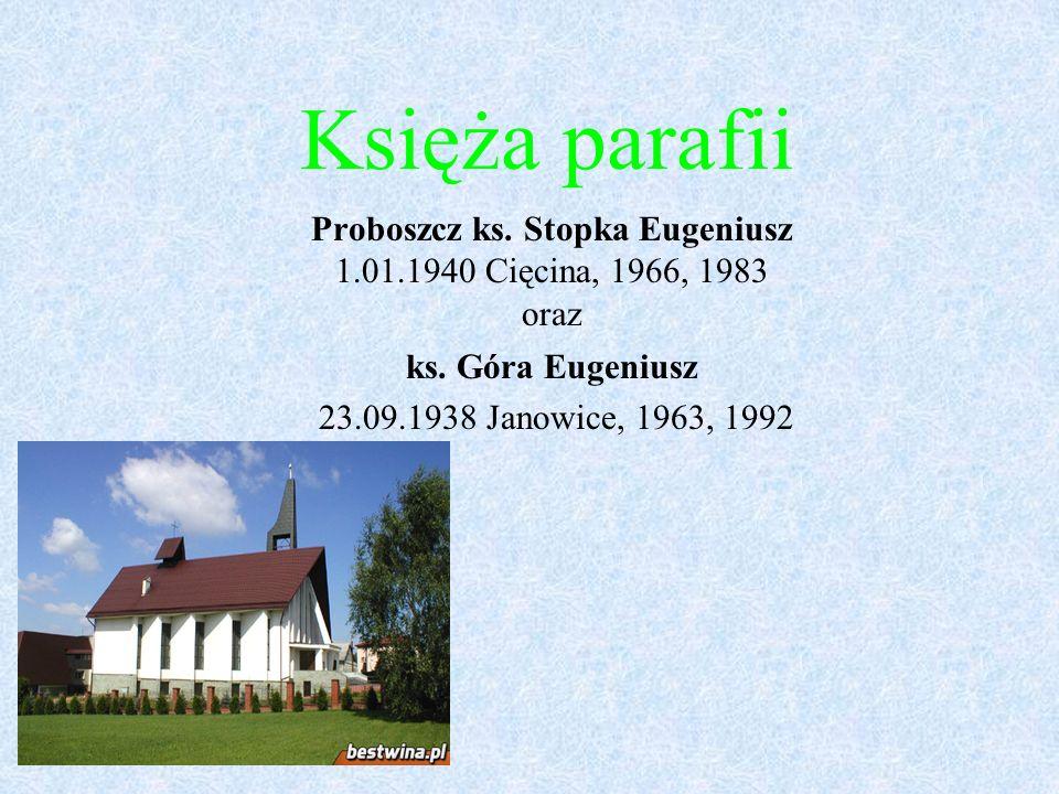 Księża parafii Proboszcz ks. Stopka Eugeniusz 1.01.1940 Cięcina, 1966, 1983 oraz ks. Góra Eugeniusz 23.09.1938 Janowice, 1963, 1992