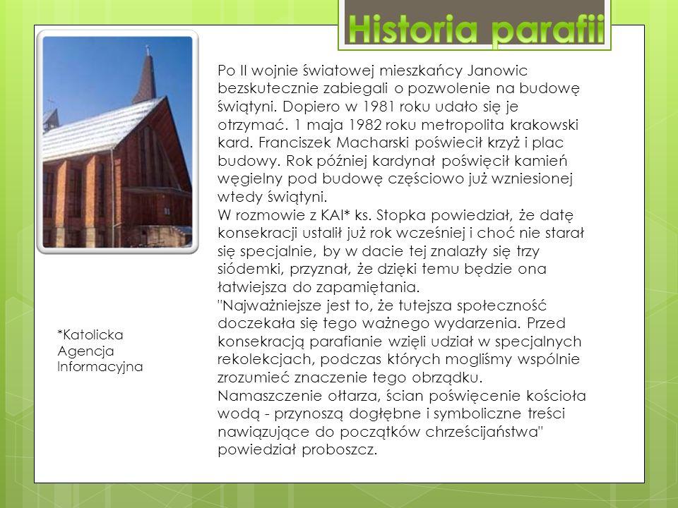 Po II wojnie światowej mieszkańcy Janowic bezskutecznie zabiegali o pozwolenie na budowę świątyni.