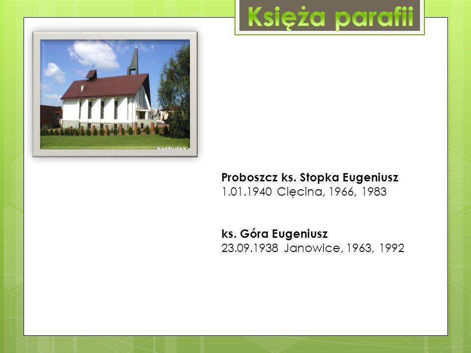 Proboszcz ks. Stopka Eugeniusz 1.01.1940 Cięcina, 1966, 1983 ks.