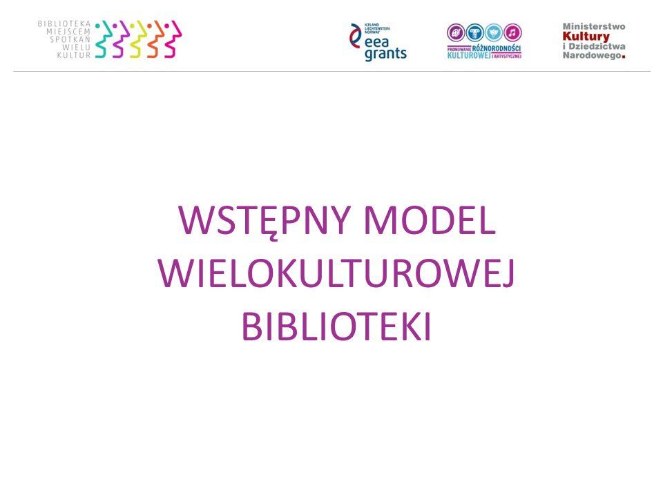 Ramy modelu Filary wielokulturowej biblioteki: Współpraca Włączanie Wzmacnianie Widoczność Sposoby działania Obszary działania Proces wdrażania – 5 kroków do wielokulturowej biblioteki