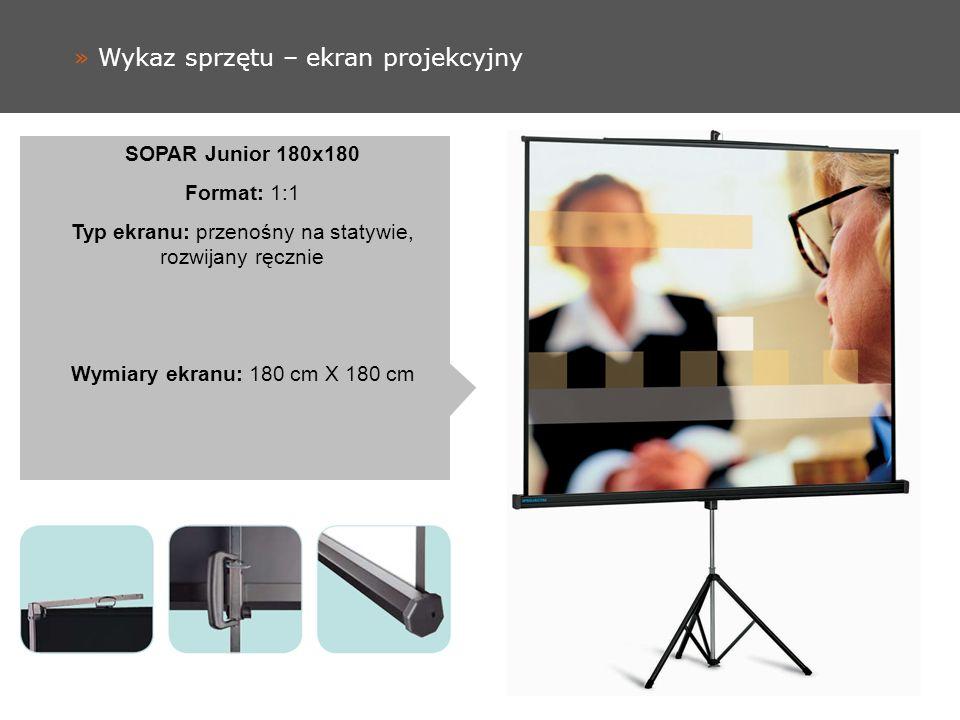 » Wykaz sprzętu – ekran projekcyjny SOPAR Junior 180x180 Format: 1:1 Typ ekranu: przenośny na statywie, rozwijany ręcznie Wymiary ekranu: 180 cm X 180