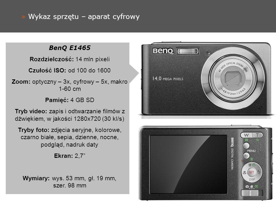 » Wykaz sprzętu – aparat cyfrowy BenQ E1465 Rozdzielczość: 14 mln pixeli Czułość ISO: od 100 do 1600 Zoom: optyczny – 3x, cyfrowy – 5x, makro 1-60 cm