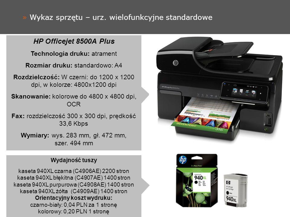 » Wykaz sprzętu – drukarka A3 HP OfficeJet 7000 Technologia druku: atrament Rozmiar druku: A3 Rozdzielczość: w czerni do 600 dpi, w kolorze – 1200 dpi Wymiary: wys.