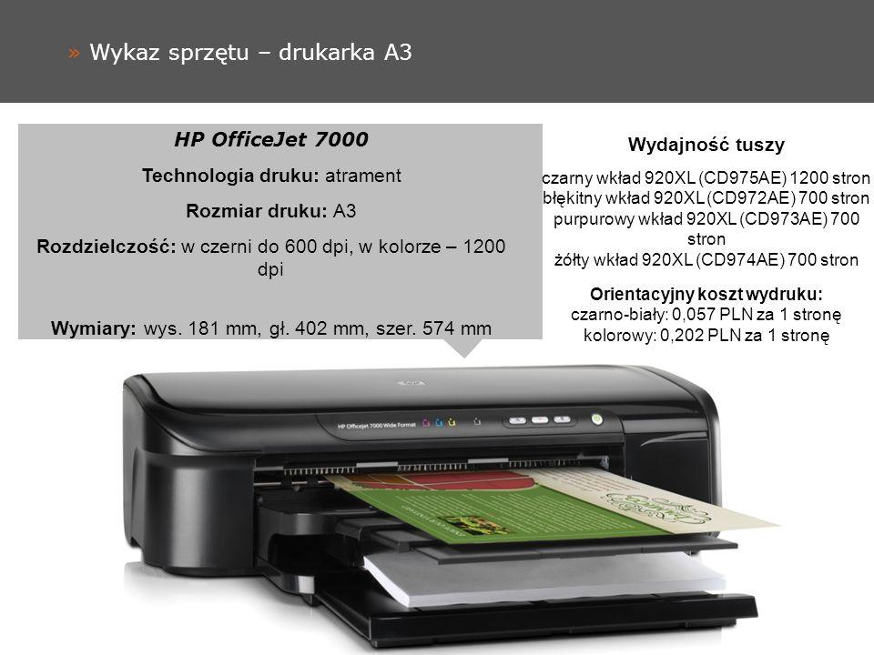 » Wykaz sprzętu – drukarka A3 HP OfficeJet 7000 Technologia druku: atrament Rozmiar druku: A3 Rozdzielczość: w czerni do 600 dpi, w kolorze – 1200 dpi