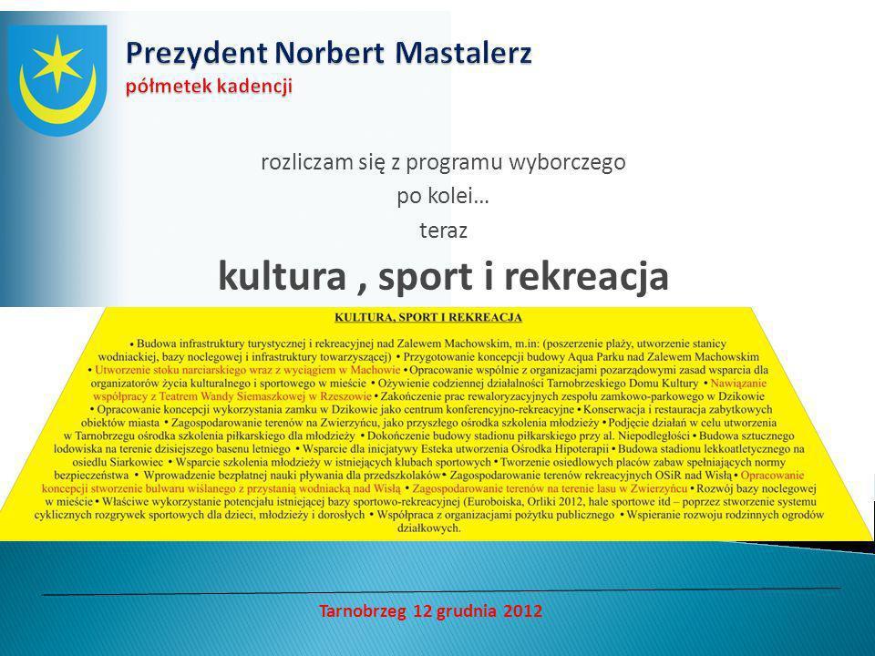 rozliczam się z programu wyborczego po kolei… teraz kultura, sport i rekreacja Tarnobrzeg 12 grudnia 2012