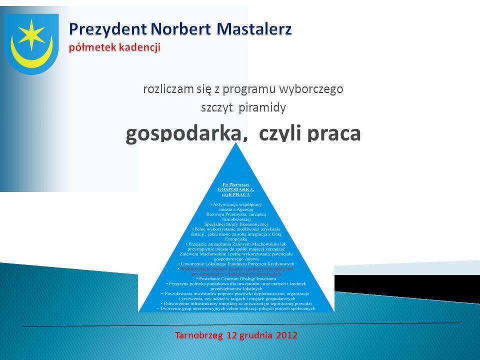 rozliczam się z programu wyborczego szczyt piramidy gospodarka, czyli praca Tarnobrzeg 12 grudnia 2012