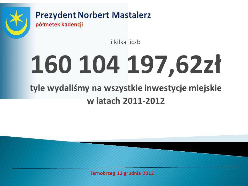 i kilka liczb 160 104 197,62zł tyle wydaliśmy na wszystkie inwestycje miejskie w latach 2011-2012 Tarnobrzeg 12 grudnia 2012
