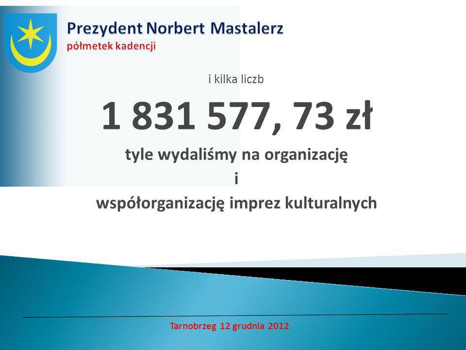 i kilka liczb 1 831 577, 73 zł tyle wydaliśmy na organizację i współorganizację imprez kulturalnych Tarnobrzeg 12 grudnia 2012