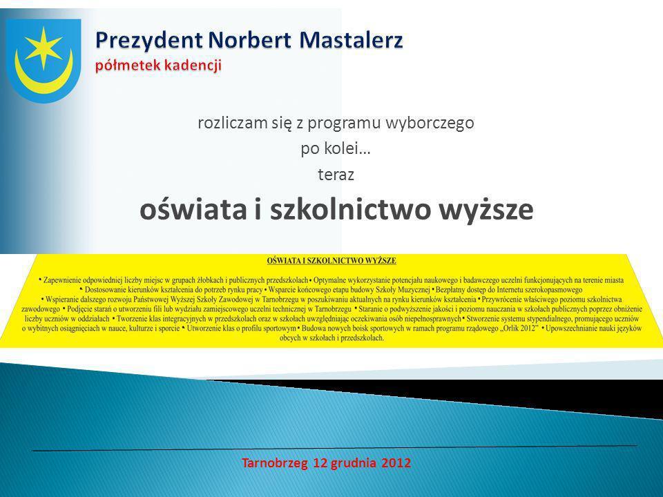 rozliczam się z programu wyborczego po kolei… teraz oświata i szkolnictwo wyższe Tarnobrzeg 12 grudnia 2012