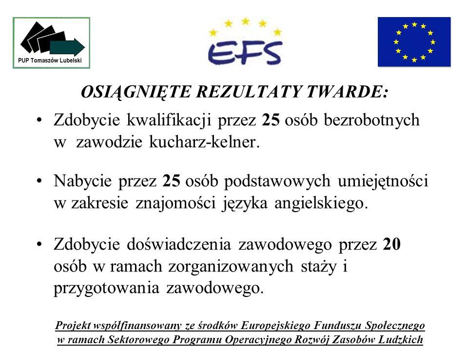 OSIĄGNIĘTE REZULTATY TWARDE: Zdobycie kwalifikacji przez 25 osób bezrobotnych w zawodzie kucharz-kelner.