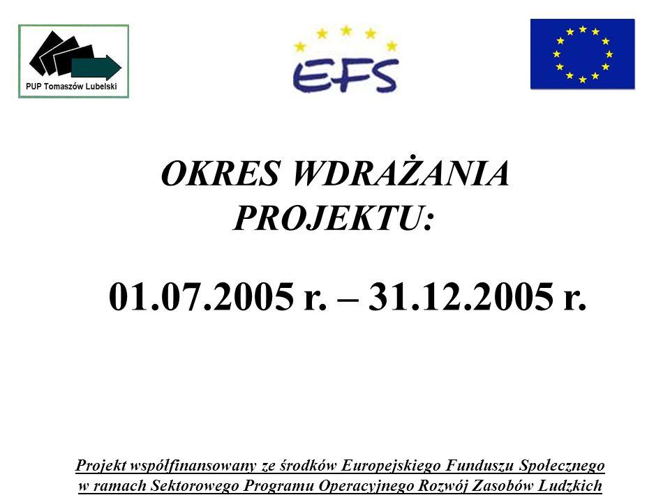 OKRES WDRAŻANIA PROJEKTU: Projekt współfinansowany ze środków Europejskiego Funduszu Społecznego w ramach Sektorowego Programu Operacyjnego Rozwój Zasobów Ludzkich 01.07.2005 r.