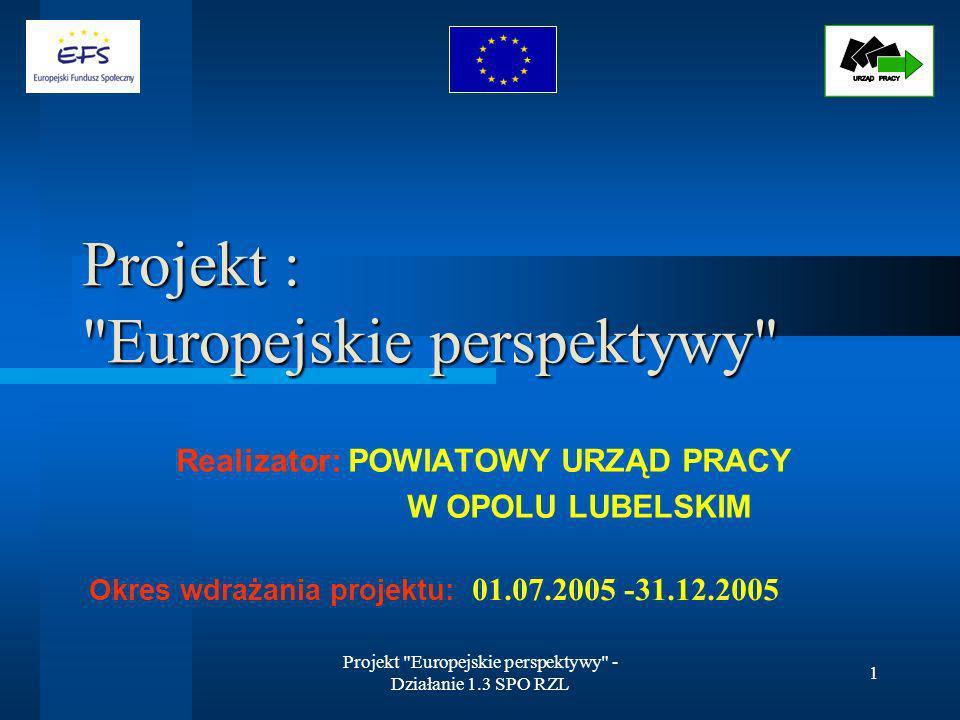 Projekt Europejskie perspektywy - Działanie 1.3 SPO RZL 2 Opis projektu: Sektorowy Program Operacyjny Rozwój Zasobów Ludzkich 2004-2006 Priorytet 1 – Aktywna polityka rynku pracy oraz integracji zawodowej i społecznej Działanie 1.3 – Przeciwdziałanie i zwalczanie długotrwałego bezrobocia Schemat a) Wspieranie osób bezrobotnych, w tym długotrwale bezrobotnych Projekt został wybrany w trybie konkursowym- nr konkursu 1a/SPO RZL/2005