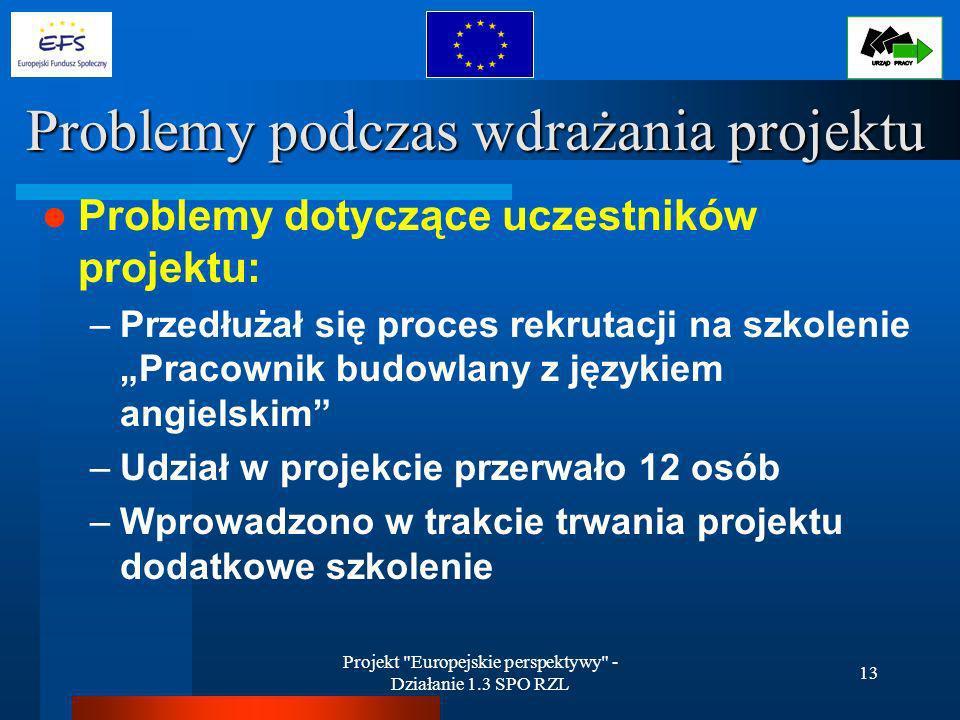 Projekt Europejskie perspektywy - Działanie 1.3 SPO RZL 13 Problemy podczas wdrażania projektu Problemy dotyczące uczestników projektu: –Przedłużał się proces rekrutacji na szkolenie Pracownik budowlany z językiem angielskim –Udział w projekcie przerwało 12 osób –Wprowadzono w trakcie trwania projektu dodatkowe szkolenie