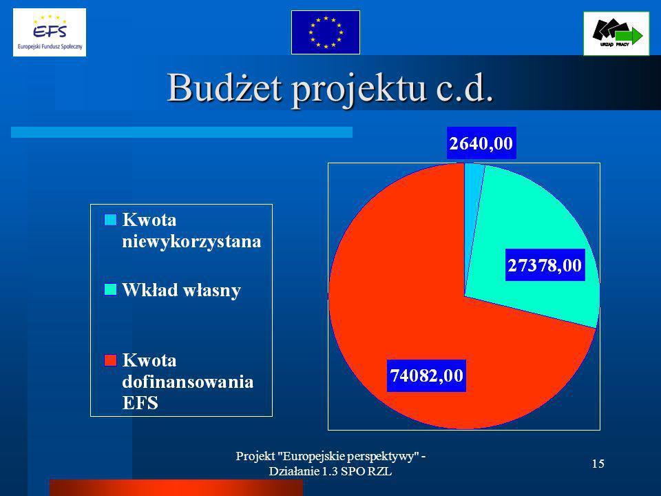 Projekt Europejskie perspektywy - Działanie 1.3 SPO RZL 15 Budżet projektu c.d.
