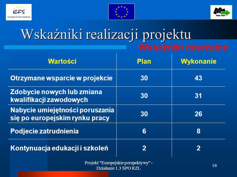 Projekt Europejskie perspektywy - Działanie 1.3 SPO RZL 16 Wskaźniki realizacji projektu Wskaźniki mierzalne WartościPlanWykonanie Otrzymane wsparcie w projekcie3043 Zdobycie nowych lub zmiana kwalifikacji zawodowych 3031 Nabycie umiejętności poruszania się po europejskim rynku pracy 3026 Podjecie zatrudnienia68 Kontynuacja edukacji i szkoleń22