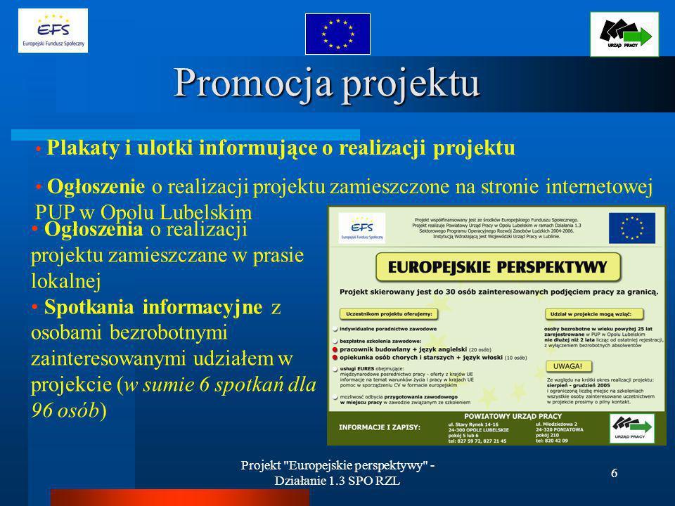 Projekt Europejskie perspektywy - Działanie 1.3 SPO RZL 7 Promocja projektu w prasie lokalnej Promocja projektu w prasie lokalnej OPOLSKA GAZETA POWIATOWA Maj/Czerwiec/Lipiec 2005 Opolanin – lipiec 2005
