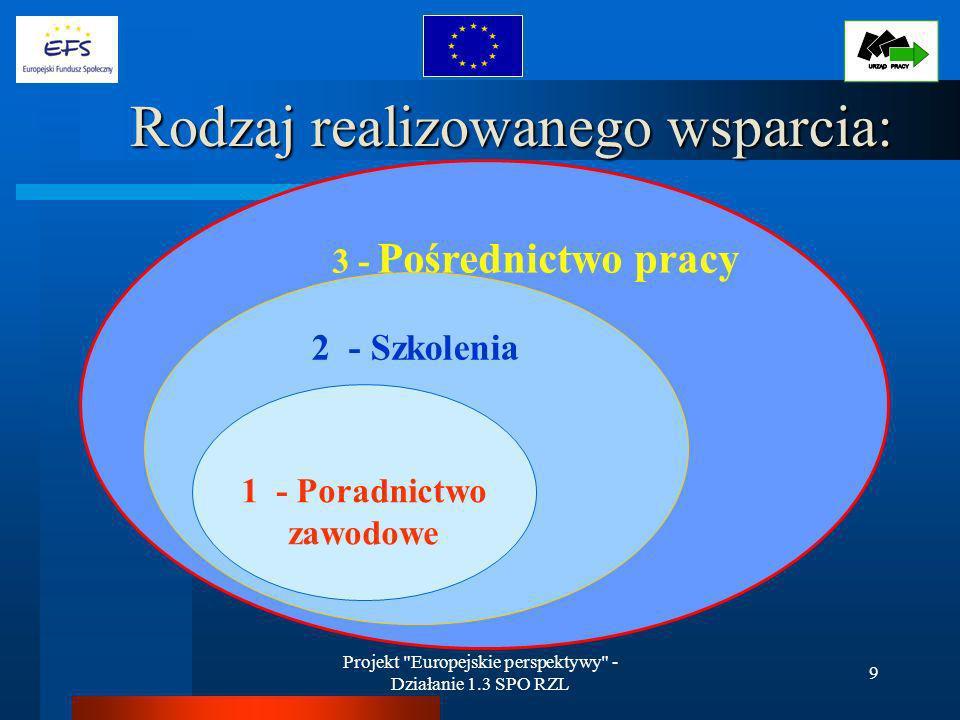 Projekt Europejskie perspektywy - Działanie 1.3 SPO RZL 9 3 - Pośrednictwo pracy 2 - Szkolenia Rodzaj realizowanego wsparcia: 1 - Poradnictwo zawodowe