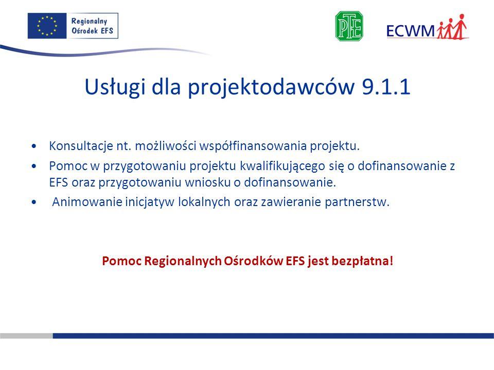 Usługi dla projektodawców 9.1.1 Konsultacje nt. możliwości współfinansowania projektu. Pomoc w przygotowaniu projektu kwalifikującego się o dofinansow