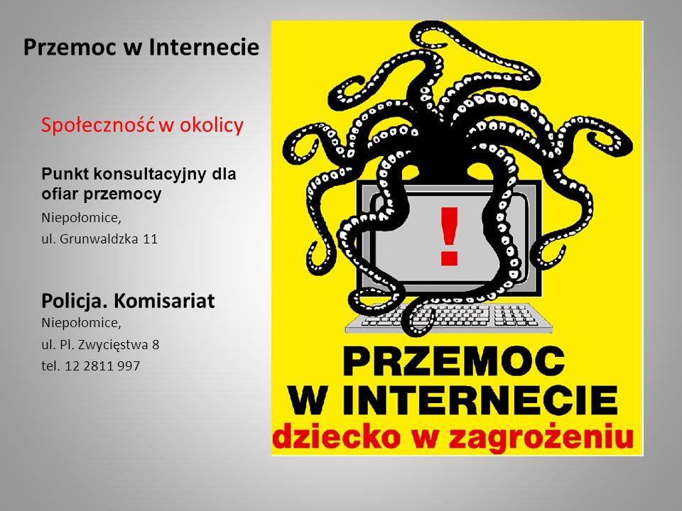Przemoc w Internecie Społeczność w okolicy Punkt konsultacyjny dla ofiar przemocy Niepołomice, ul. Grunwaldzka 11 Policja. Komisariat Niepołomice, ul.