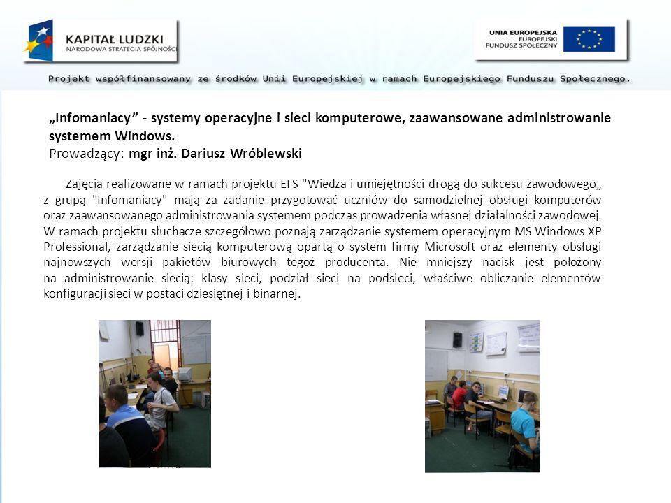 Zajęcia realizowane w ramach projektu EFS