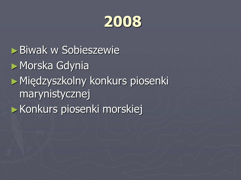 2008 2008 Biwak w Sobieszewie Biwak w Sobieszewie Morska Gdynia Morska Gdynia Międzyszkolny konkurs piosenki marynistycznej Międzyszkolny konkurs pios