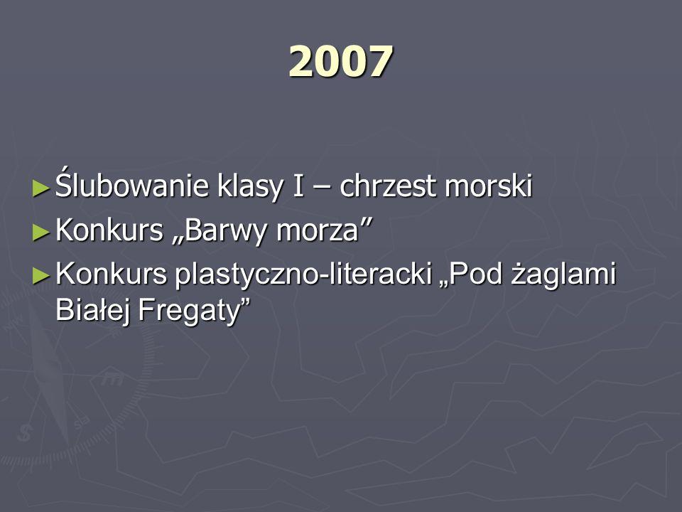 2008 2008 Biwak w Sobieszewie Biwak w Sobieszewie Morska Gdynia Morska Gdynia Międzyszkolny konkurs piosenki marynistycznej Międzyszkolny konkurs piosenki marynistycznej Konkurs piosenki morskiej Konkurs piosenki morskiej