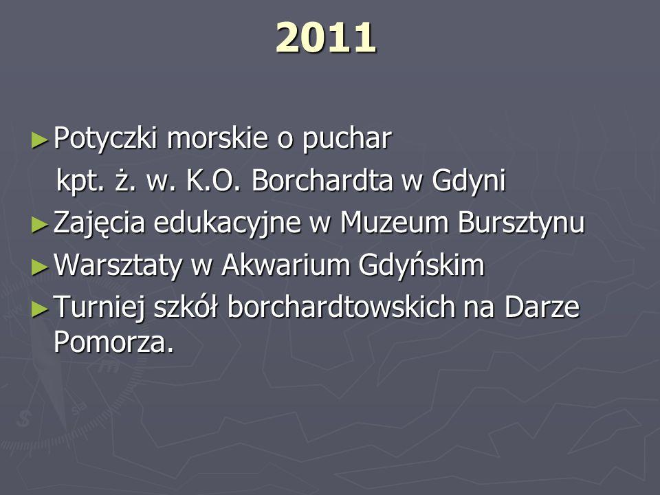 2011 Potyczki morskie o puchar Potyczki morskie o puchar kpt. ż. w. K.O. Borchardta w Gdyni kpt. ż. w. K.O. Borchardta w Gdyni Zajęcia edukacyjne w Mu