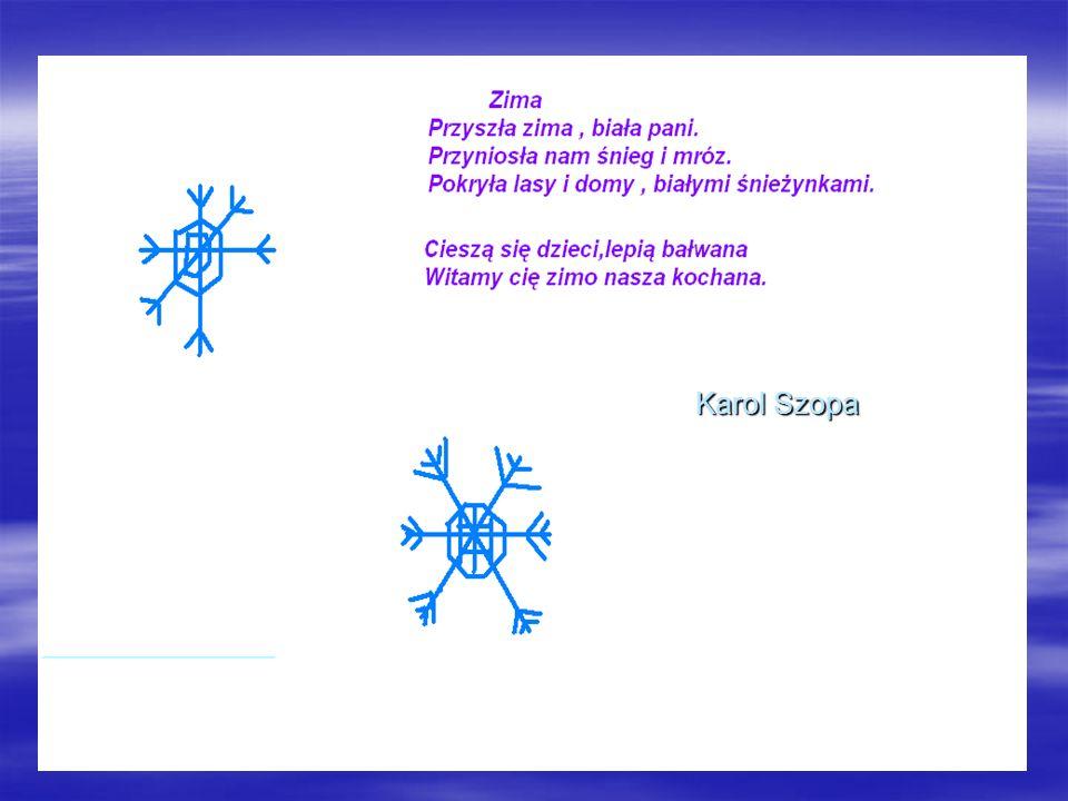 Karolina Musiatowicz BIAŁA ZIMA Przyszła biała zima, wreszcie się zaczyna, cieszą się dzieci, że śnieżek leci.