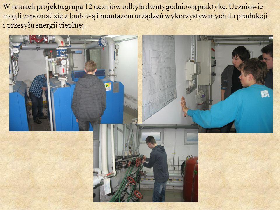 W ramach projektu grupa 12 uczniów odbyła dwutygodniową praktykę. Uczniowie mogli zapoznać się z budową i montażem urządzeń wykorzystywanych do produk