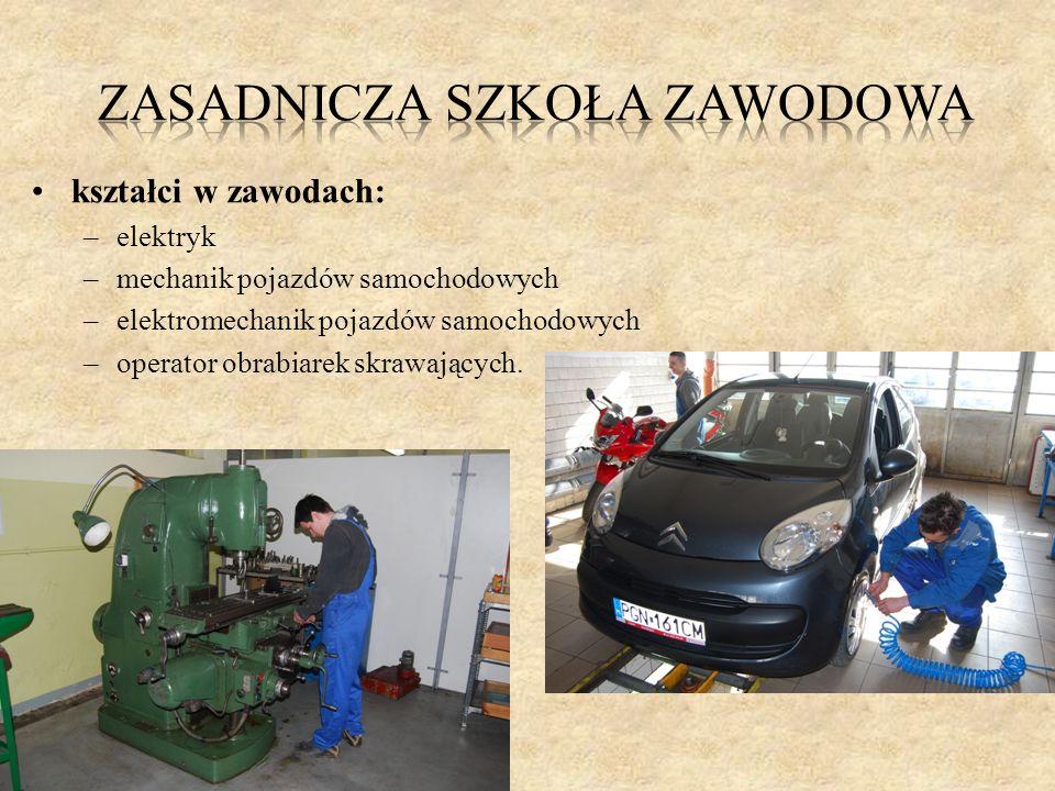 kształci w zawodach: –elektryk –mechanik pojazdów samochodowych –elektromechanik pojazdów samochodowych –operator obrabiarek skrawających.