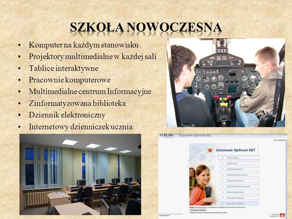 Komputer na każdym stanowisku Projektory multimedialne w każdej sali Tablice interaktywne Pracownie komputerowe Multimedialne centrum Informacyjne Zin