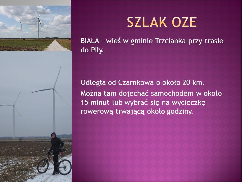 BIAŁA – wieś w gminie Trzcianka przy trasie do Piły. Odległa od Czarnkowa o około 20 km. Można tam dojechać samochodem w około 15 minut lub wybrać się