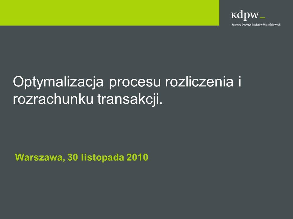 Warszawa, 30 listopada 2010 Optymalizacja procesu rozliczenia i rozrachunku transakcji.