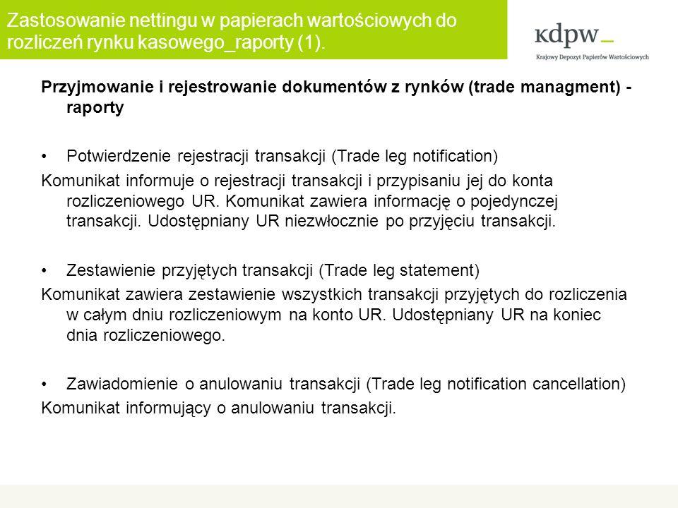 Zastosowanie nettingu w papierach wartościowych do rozliczeń rynku kasowego_raporty (1). Przyjmowanie i rejestrowanie dokumentów z rynków (trade manag