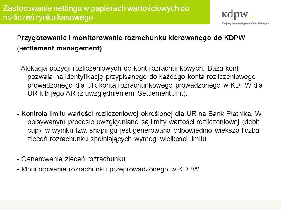 Zastosowanie nettingu w papierach wartościowych do rozliczeń rynku kasowego. Przygotowanie i monitorowanie rozrachunku kierowanego do KDPW (settlement