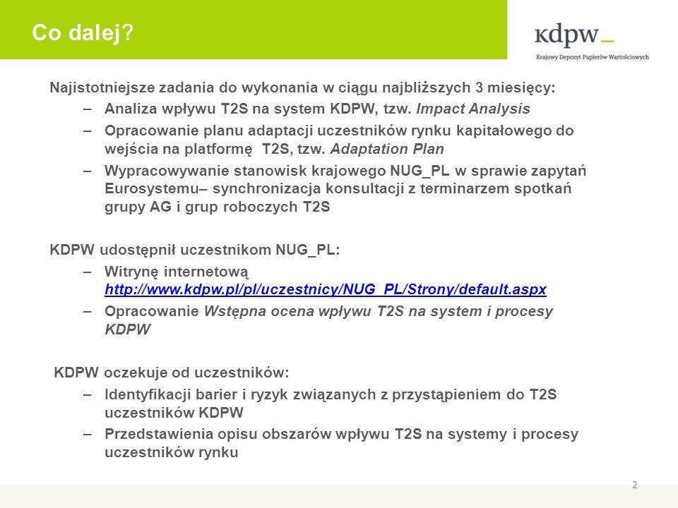 Co dalej ? Najistotniejsze zadania do wykonania w ciągu najbliższych 3 miesięcy: –Analiza wpływu T2S na system KDPW, tzw. Impact Analysis –Opracowanie