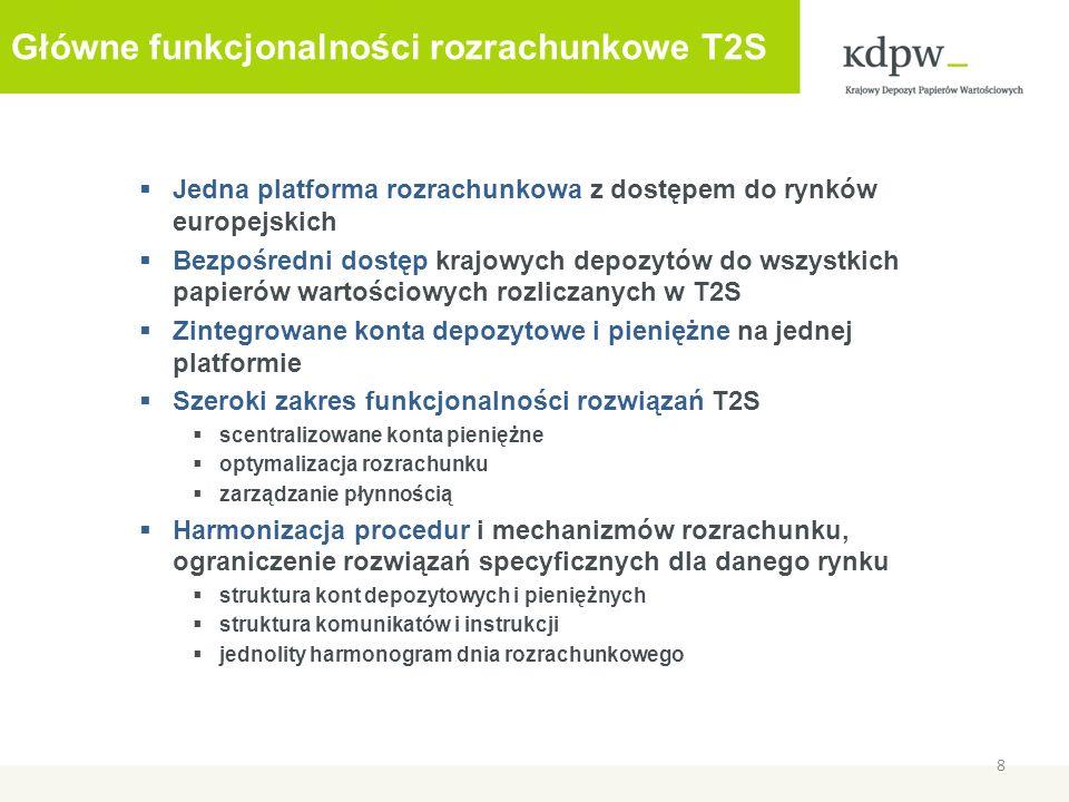 Jedna platforma rozrachunkowa z dostępem do rynków europejskich Bezpośredni dostęp krajowych depozytów do wszystkich papierów wartościowych rozliczanych w T2S Zintegrowane konta depozytowe i pieniężne na jednej platformie Szeroki zakres funkcjonalności rozwiązań T2S scentralizowane konta pieniężne optymalizacja rozrachunku zarządzanie płynnością Harmonizacja procedur i mechanizmów rozrachunku, ograniczenie rozwiązań specyficznych dla danego rynku struktura kont depozytowych i pieniężnych struktura komunikatów i instrukcji jednolity harmonogram dnia rozrachunkowego 8