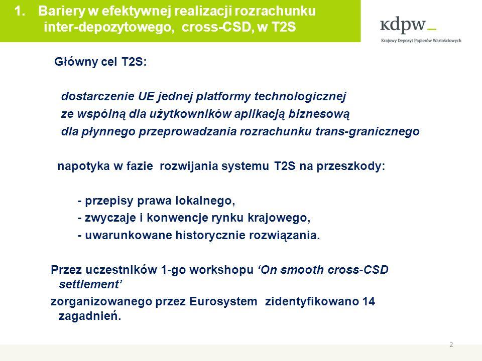 2 Główny cel T2S: dostarczenie UE jednej platformy technologicznej ze wspólną dla użytkowników aplikacją biznesową dla płynnego przeprowadzania rozrachunku trans-granicznego napotyka w fazie rozwijania systemu T2S na przeszkody: - przepisy prawa lokalnego, - zwyczaje i konwencje rynku krajowego, - uwarunkowane historycznie rozwiązania.